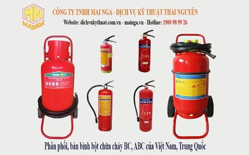 Công ty TNHH Mai Nga - Dịch vụ kỹ thuật Thái Nguyên phân phối, cung cấp bảng giá bán Bình bột chữa cháy cầm tay BC MFZ4 MFZ8, ABC MFZL1 (1kg), ABC MFZL2 (2kg), ABC MFZL4 (4kg), ABC MFZL8 (8kg), xe đẩy BC MFTZ35, xe đẩy ABC MFTZL35 (35kg), 25kg của các hãng Dragon, Firestar, Yamato (Việt Nam), bình Trung Quốc tại Thái Nguyên (Hà Nội, Bắc Ninh, Bắc Giang, Bắc Kạn, Cao Bằng, Lạng Sơn, Hà Nam, Nam Định, Thái Bình, Hưng Yên, Quảng Ninh, Vĩnh Phúc, Tuyên Quang, Hà Giang và các tỉnh trong cả nước). Gọi 1900 989926